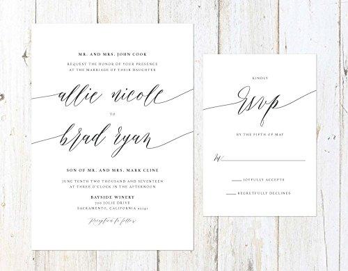 Elegant Wedding Invitation, Simple Grey Invitation, Grey Script Wedding Invitation by Alexa Nelson Prints