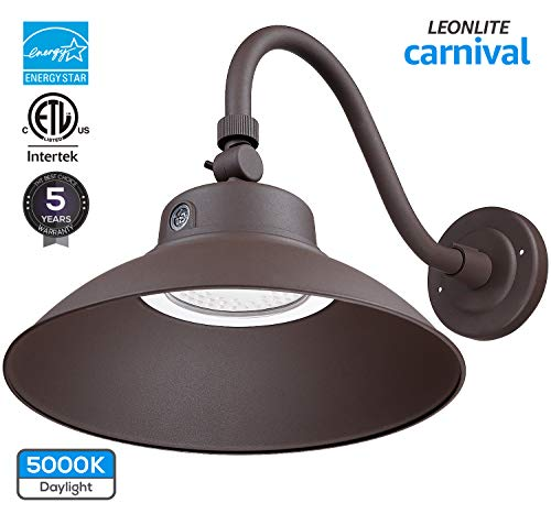 (LEONLITE LED Gooseneck Barn Light, Photocell Included, Swivel Head Outdoor Wall Light, 42W (150W Equivalent), 5000K Daylight, 4000 Lumens, ETL & Energy Star Certified, 5 Years Warranty, Brown)