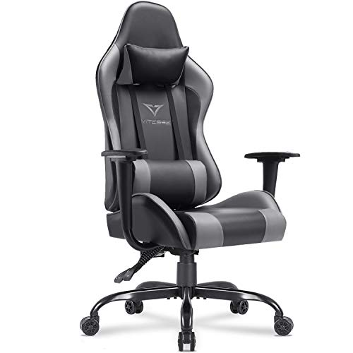 Vitesse Gaming Chair (Sillas Gaming) Ergonomic Computer Desk Chair High Back Racing Style Comfortable Chair Swivel Executive Leather Chair with Lumbar Support and Headrest (Grey)