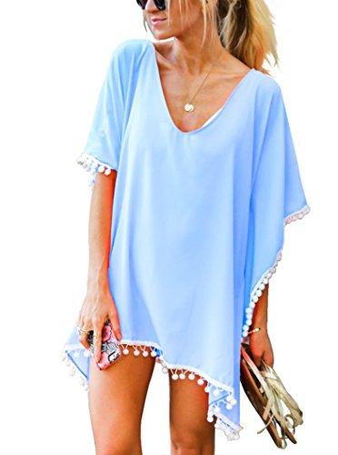 - Women's Chiffon Pom Pom Kaftan Swimwear Bathing Suit Beach Cover up Free Size Sky Blue