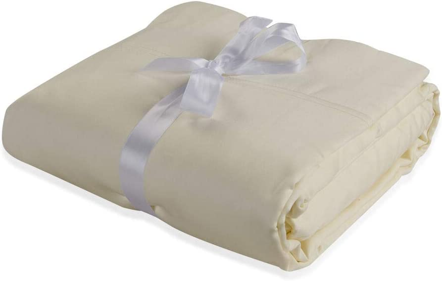 Ivory 1 Flat Sheet and 2 Pillow Covers Solid Colour Bamboo Double Size 1 Fitted Sheet TJC 4 Piece Set