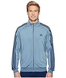 adidas Men's Essentials 3-Stripe Tricot Track Jacket, Raw Steel/Collegiate Navy, Small
