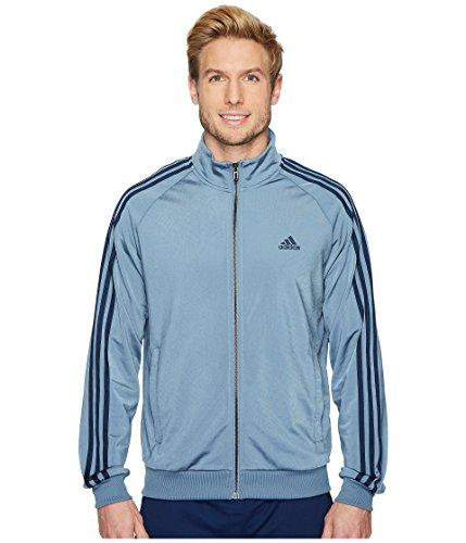 adidas Mens Essentials 3-Stripe Tricot Track Jacket, Raw Steel/Collegiate Navy, X-Large