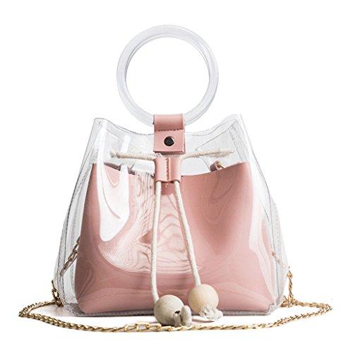 Tandou Les sacs à main de sac à main de plage de PVC transparent de sac à bandoulière de chaîne de sac à main de femmes Rose