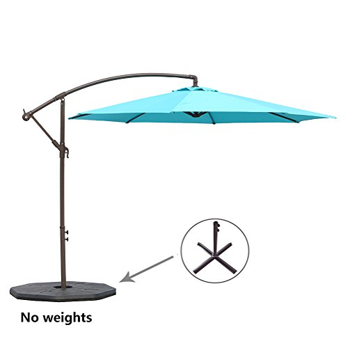 Le Papillon 10-ft Offset Hanging Patio Umbrella Aluminum Outdoor Cantilever Umbrella Crank Lift, Blue