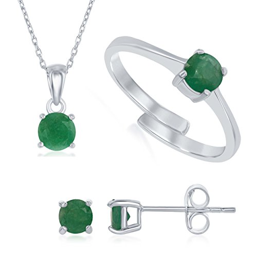 Sterling Silver Emerald 'May' Genuine Birthstone Pendant Necklace, Earrings and Ring Set