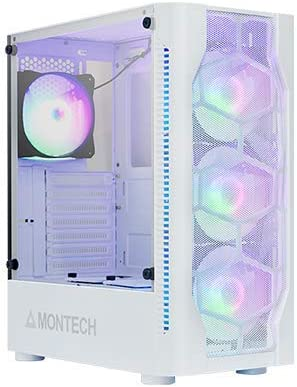Montech X1 White ATX Mid-Tower Case - High Airflow, Front Mesh Ventilation, Tempered Glass Side Panel, Pre-Installed 4 x 120mm Autoflow Rainbow LED Fans
