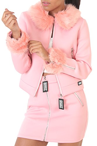 Pink UK Multiple Trim Fur SHADE Up XS London Neoprene Jacket 90s Zip Blush 8 Faux EYnAfOAqwx