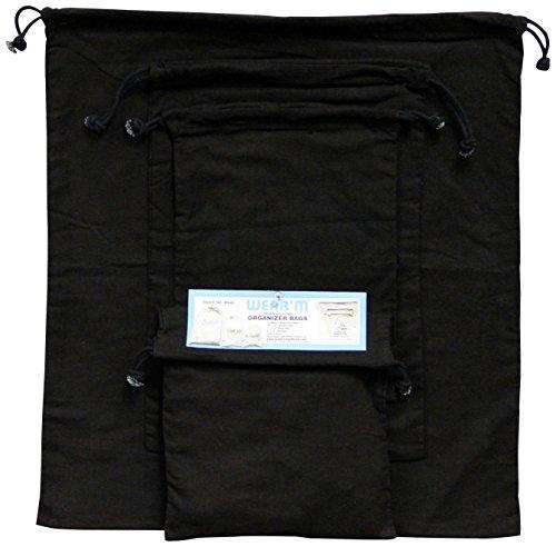 Mark Richards Wear'm?? 152 3-Piece Organizer Drawstring Bags, Black