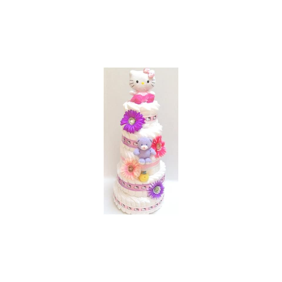 4 Tier Hello Kitty Diaper Cake