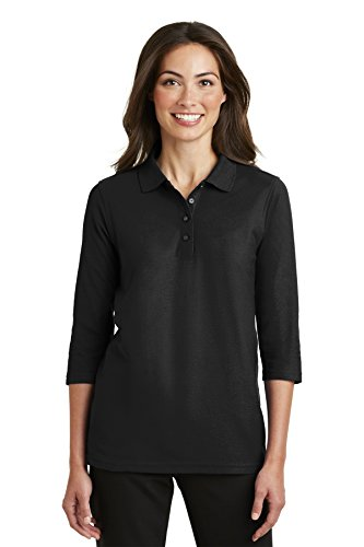 Port Authority Ladies Silk Touch 3/4-Sleeve Polo. L562 Black XL