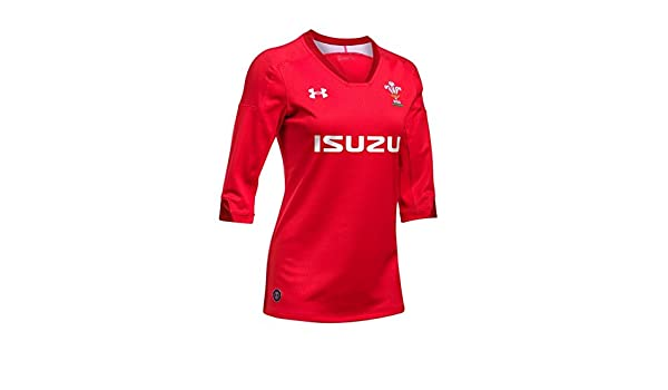 23a86f7ea2e Amazon.com : Under Armour 2018-2019 Wales Rugby Home WRU Womens Supporters  Football Soccer T-Shirt Jersey (Red) : Clothing