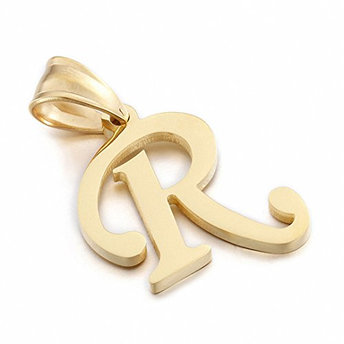 Kalapure 14K Gold Plated Stainless Steel Initial Pendant for Birthday Gifts - 26 Letters Alphabet Personalized Charms Pendant (R)