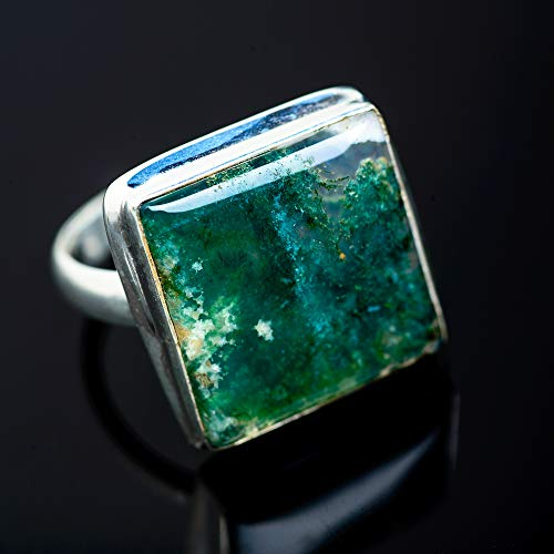 Ana Silver Co Green Moss Agate Ring Size 10 (925 Sterling Silver) - Handmade Jewelry, Bohemian, Vintage RING952446 ()