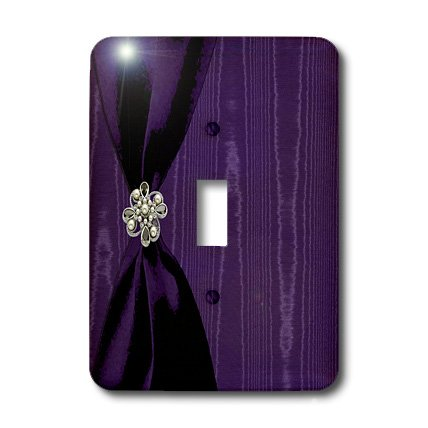 3dRose LLC lsp_40387_1 Purple Satin Ribbon with Jewel On Moire Single Toggle Switch