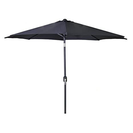 9 steel market umbrella in black - Black Patio Umbrella