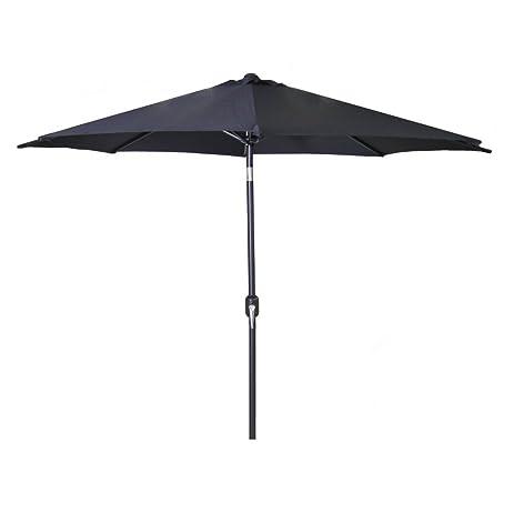 9u0027 Steel Market Umbrella In Black