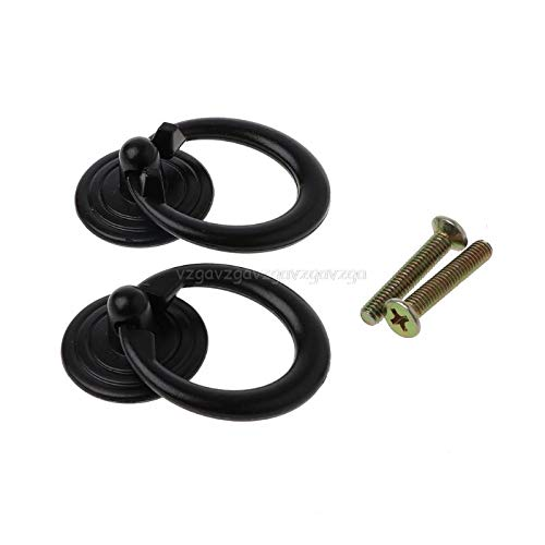 Cabinet Pulls - 2pcs Furniture Handle Black Cabinets Pull Knobs Drawer Door Ring F14 19 - Profile Rubbed Single Nickle Gray Grey Bulk Laundry Cabinets Ceramic Pink Animal Stainless Vintage -