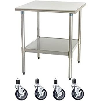 Amazoncom Work Table With Casters Wheels Stainless Steel Food - Stainless steel work table on casters