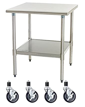 Work Table With 4 Casters Wheels Stainless Steel Food Prep Worktable  18u0026quot; ...