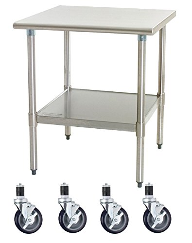 Work Table with 4 Casters Wheels Stainless Steel Food Prep Worktable 18'' X 30'' by AmGood