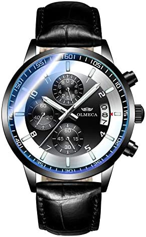 OLMECA Men s Watch Sports Dress Fashion Analog Quartz Watches Stainless Steel Chronograph Date Watch Waterproof Wrist Watch for Men Genuine Leather Strap 902pd