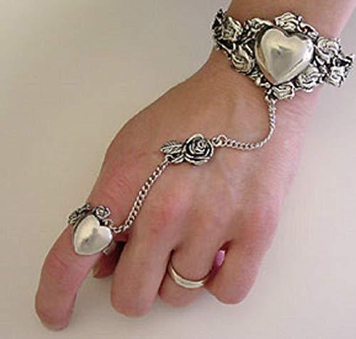 Pewter Slave Bracelet - Melonie Home Heart and Rose Slave Bracelet & Ring Lead Free Pewter - Adjustable SCA Garb