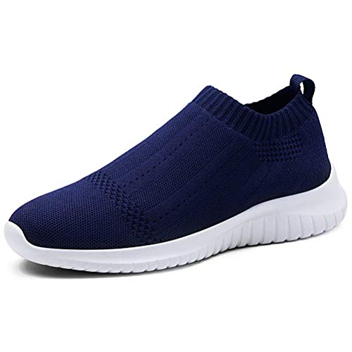 LANCROP Women's Casual Tennis Shoes - Comfortable Knit Gym Walking Slip On Sneakers 9 M US, Label 40 Navy