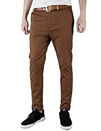 ITALY MORN Men Chino Pants Khaki Slim Fit Stretch Cotton Twill Fabric Trousers