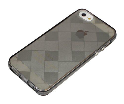 Xcessor Schach Checkerboard Flexible TPU Case für Apple iPhone SE / 5 / 5S. Grau/Transparent