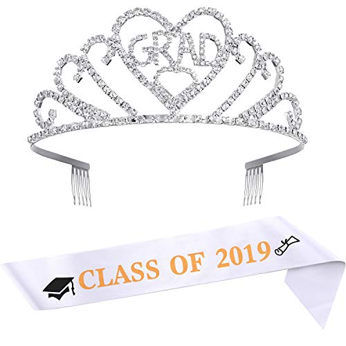 2019 Graduation Tiara and Sash Party Supplies, Graduation Princess Heart Crown Tiara and Graduation Sash Class of 2019 for Graduation Party Decoration Favors