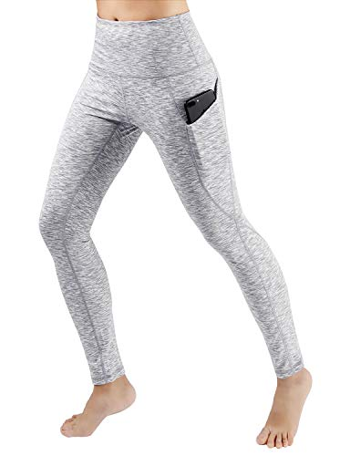 ODODOS High Waist Out Pocket Yoga Pants Tummy Control Workout Running 4 Way Stretch Yoga Leggings,SpaceDyeWhite,Small -