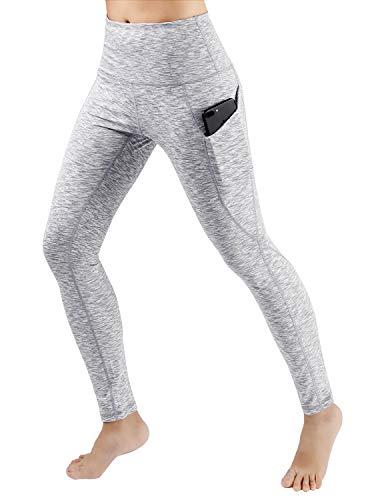 ODODOS High Waist Out Pocket Yoga Pants Tummy Control Workout Running 4 Way Stretch Yoga Leggings,SpaceDyeWhite,Medium