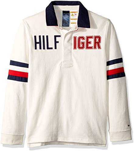 Tommy Hilfiger Boys' Adaptive Rugby Shirt with Magnetic Buttons, snow white X-Large