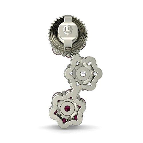 18K Or Blanc 0,3CT TW Round-cut-diamond (IJ | SI) et rubis Boucles d'oreille à tige