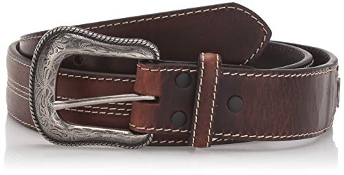Roper Men's Belt with Ornaments Silver Buckle, Brown, 34