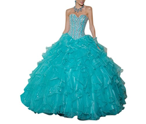 New Quinceanera Gown (Dearta Women's Ball Gown Sweetheart Organza Quinceanera Dresses Aqua US 10)