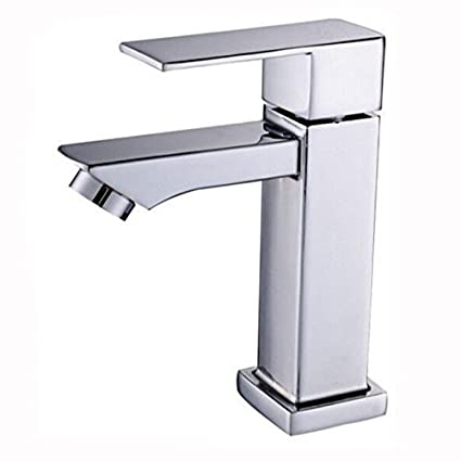 7trees Chrome Plated Copper Single Hole Cold Washbasin Faucet Single