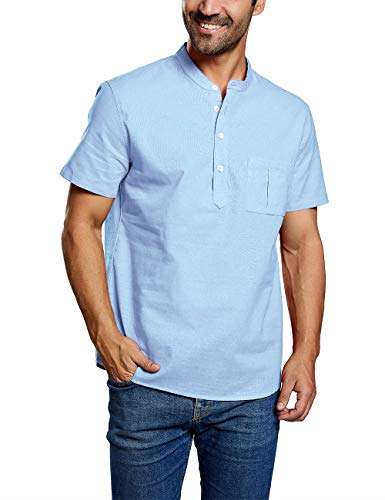 Mens Linen Button Down Shirts Beach Short Sleeve Cotton Lightweight Tops Summer Tees Plain Mandarin Collar Blouses