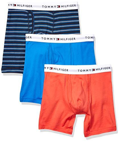 Tommy Hilfiger Men's Underwear 3 Pack Cotton Classic Boxer Briefs, Cadet Blue, Small