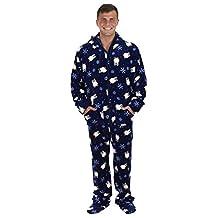 SleepytimePjs Men's Printed Fleece Onesie PJs Footed Pajama