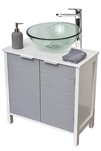 EVIDECO 9900208 Non Pedestal Under Sink Storage Vanity Cabinet-Modern D-White and Grey (Bathroom Pedestal Vanity)