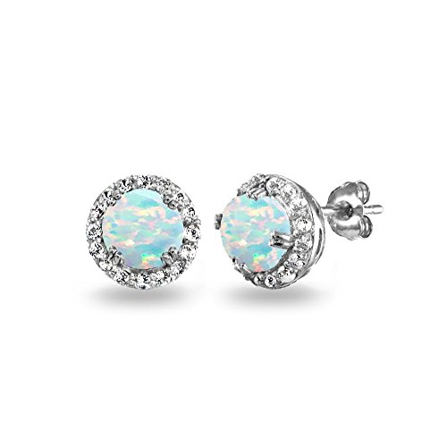 Sterling Silver Synthetic Opal & White Topaz Round Halo Stud Earrings