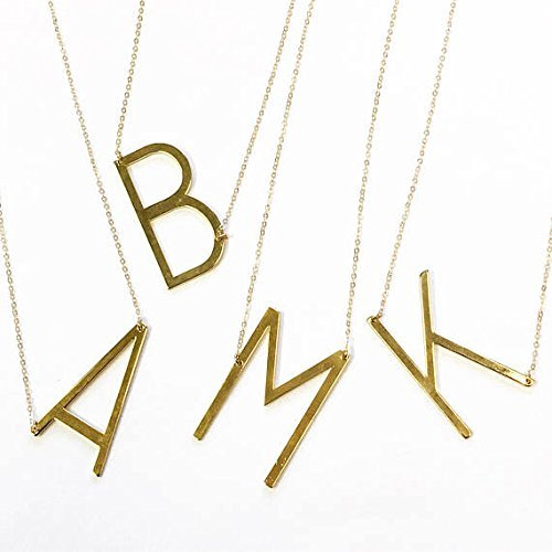 big letter necklace initial necklace personalized gift