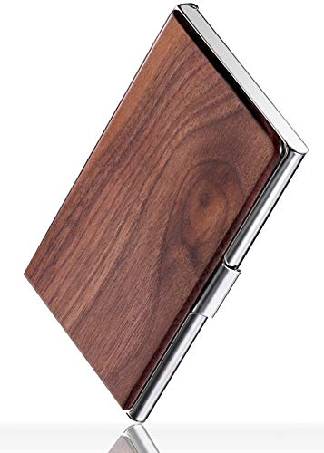 (MaxGear Professional Walnut Wood Metal Business Card Holder Pocket Business Card Case Slim Business Card Wallet Business Card Carrier for Men & Women, 3.7 x 2.3 x 0.48 inches, Walnut & Stainless Steel )
