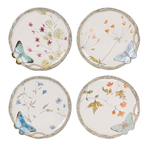 Fitz and Floyd 5237220 Butterfly Fields Brunch Plates, set of 4, Assorted