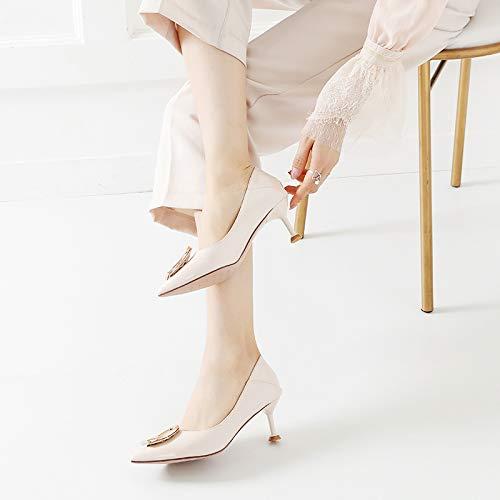 Yukun zapatos de tacón alto Chica De Tacón Alto De Otoño Fina con Blanco Salvaje con Gato Fresco Pequeño De 5Cm con Zapatos Individuales De Punta Creamy-White