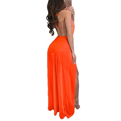 Donne Arancione Vedere Rappezzatura Maxi Delle Maglia Pagliaccetto Lace Attraverso Vestito Della Up On7qTa