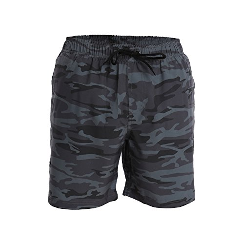 Men's Swim Trunks and Workout Shorts - S - Gray Blue Camo...