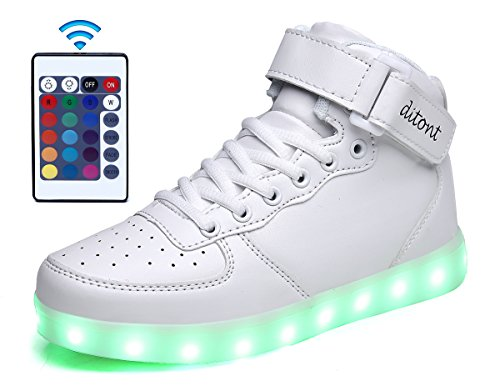 Ditont LED Light Up Shoes Remote Control 16 Colors Flashing Sneakers for Kids Boys Girls(DT98White38)
